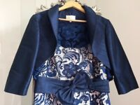Wedding Guest/Mother of the Bride Outfit in Rich Indigo Blue...Lace Dress, Bolero and Fascinator