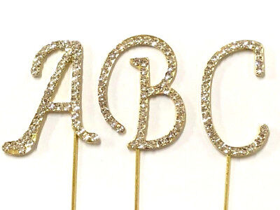 Small GOLD Rhinestone Bling Monogram Letter Initial Cake Cupcake Topper Pick - Initial Wedding Cake Toppers