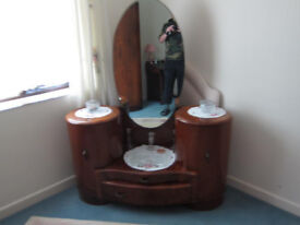 TWO ART DECO SHRAGER WARDROBES PLUS SHRAGER DRESSING TABLE IN GOOD CONDITION FOR AGE