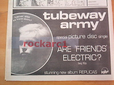 TUBEWAY ARMY (Numan) Are Friends Electric 1979 UK Press ADVERT 12x8 inches