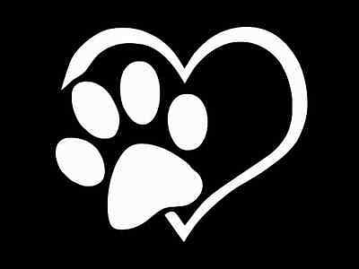 Paw Print Decals (PAW PRINT with HEART PET CAT DOG Vinyl Decal Car Wall Window Sticker CHOOSE)