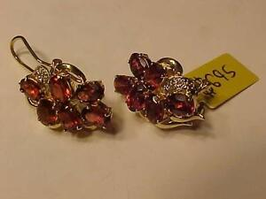 #1079-14K YELLOW GOLD OMEGA CLIP BACKS-8 DIAMONDS/12 NATURAL Rhodolite GARNETS(6.48 cts) appraised-$2,450.00 sell $695