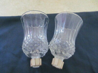 HOME INTERIOR / HOMCO SET OF 2 CLEAR DIAMOND CUT VOTIVE CUPS / CANDLE HOLDERS
