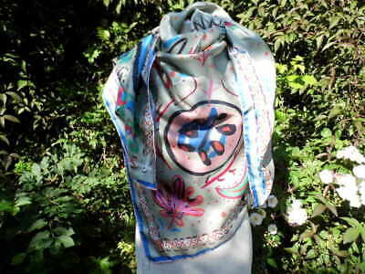 """Huge Jane Carr  52"""" square hand rolled silk Scarf"""