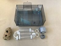 Hamster cage with toys, tunnels and equipment