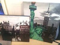 New York / London Style Wall Art (x2)
