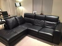 Black real leather corner sofa