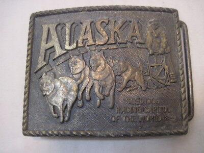 OLD ALASKA DOG BOBSLED RACING TEAM BELT BUCKLE CLOTHING