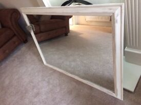 Large Mirror with Shabby Chic Style Wooden Frame
