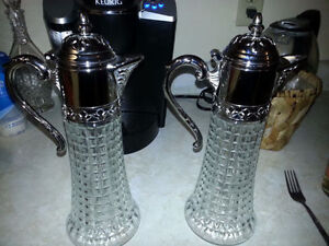 """Pair of Antique 14 """" Cut Crystal Silverplate Decanter Carafes"""