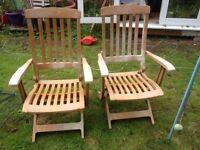 2 x Plastic Garden Chairs - Reclining