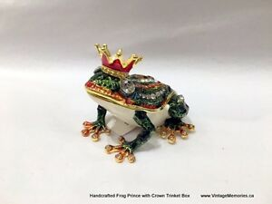 Brand New Handcrafted Bejeweled Frog Prince Trinket Boxes