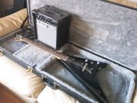 Jackson flying V with case, amp, accessories