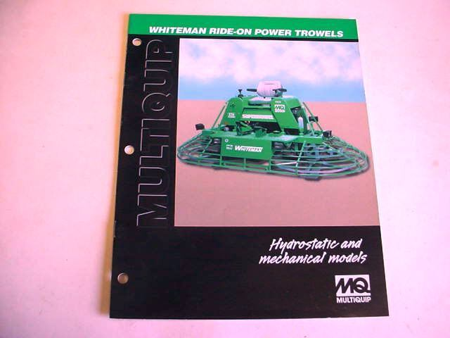 Whiteman Ride-On Power Trowels, 2000, 8 Page, Brochure                         #