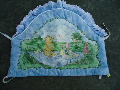 Blue Pooh & Piglet Quilted Crib End Rounded on Top & Ruffled Measurement: 23 Inc