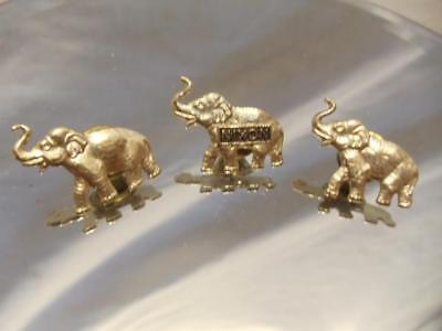 LOT of 3 Elephant Gold Tone Tie Tac Lapel Hat Fedora Pin Brooch 1 Nixon 2 Plain - Fedora-pin