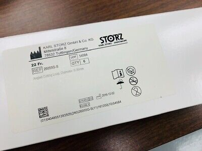 Box Of 6 Storz 26055g-s Angled Cutting Loops 22fr 0.35mm Karl Storz
