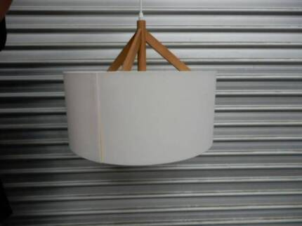PENDANT LIGHT, NATURAL FABRIC & TIMBER ACCENT - 2 In Stock