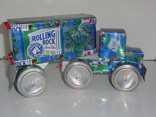 ROLLING ROCK BEER / TRACTOR TRAILER / BIG RIG TRUCK MADE FROM RECYCLED BEER CANS