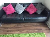 Luxury Black 4 Seater Leather Sofa For Sale