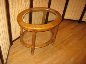 "Oblong Honey Oak End Table Size:27"" by 21"" by 22.5"" high Top has"
