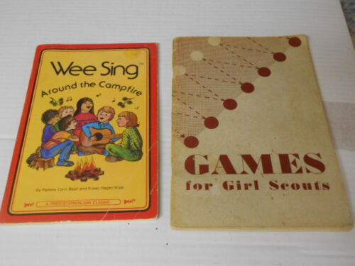 2 Vtg. GSA Wee Sing Around the Campfire & Games for Girl Scouts Books