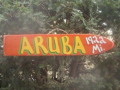 ARUBA - TROPICAL TIKI DESTINATION ARROW DIRECTIONAL POOL ISLAND POINTER SIGN