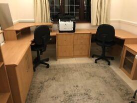 MFI Home Office Furniture - 2 corners desks, bookshelf, drawers and cupboard