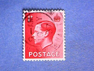 GB. KEVIII 1936 1d Scarlet. SG458. Wmk W125. P15 x 14. Used.