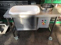 USED BREADING TABLE MOTORIZED ELECTRIC CHICKEN CHIP SHOP TAKEAWAY COMMERCIAL KITCHEN EQUIPMENT