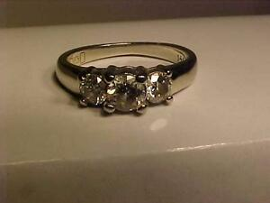 #987-14K WHITE GOLD *PAST*PRESENT*FUTURE* DIAMOND ENGAGEMENT RING.SIZE 5 1/4-  JUST APPRAISED $5,000-SELL $1195.00-EBANK