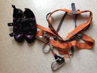 Climbing harness and climbing shoes