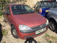 Vauxhall Corsa 1 litre 2001, starts and drives, car located in Gravesend Kent, any questions give us