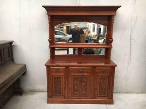 Antique ornate blackwood dresser with mirror Port Melbourne Port Phillip Preview