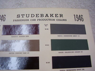 1946  STUDEBAKER PAINT COLOR CHIPS