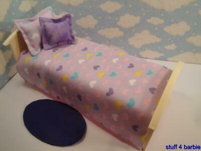Barbie Doll House Diorama Bedroom Furniture Accessories-Blanket,Pillow & Rug Set