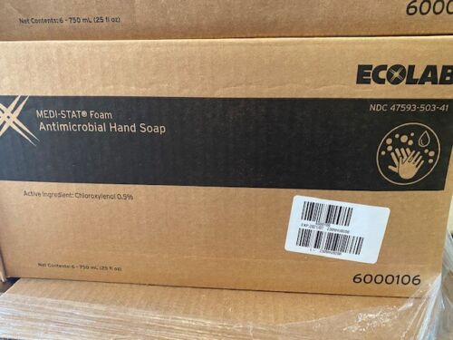 6 BOTTLES Ecolab 6000106 Medi-Stat Antimicrobial Hand Soap 750ML each Exp 7/2021