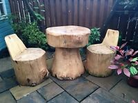 Handcrafted solid wood table and chairs