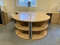 4 x Large Corner office desks with side drawers and 2 x corner shelves