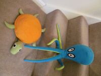IKEA Soft Toy Octopus/Squid and Sea Turtle KORRAL BLACKFISK