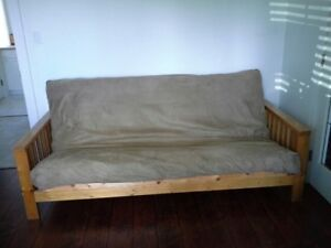 Pine frame futon couch double bed