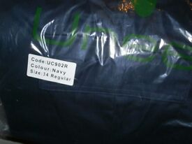 BRAND NEW UNEEK UC902R MENS CARGO WORK TROUSERS IN NAVY- SIZE W34 / R / L31