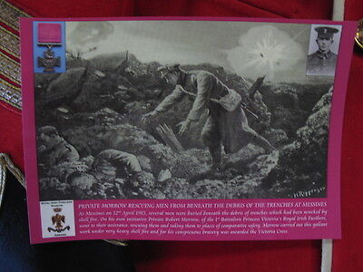 Postcard Private Morrow VC in the battle of Messine, Royal Irish Fusiliers