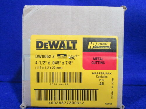 "DEWALT DW8062 4-1/2"" x .045"" x 7/8"" THICK METAL CUTTING WHEEL PACK OF 25"