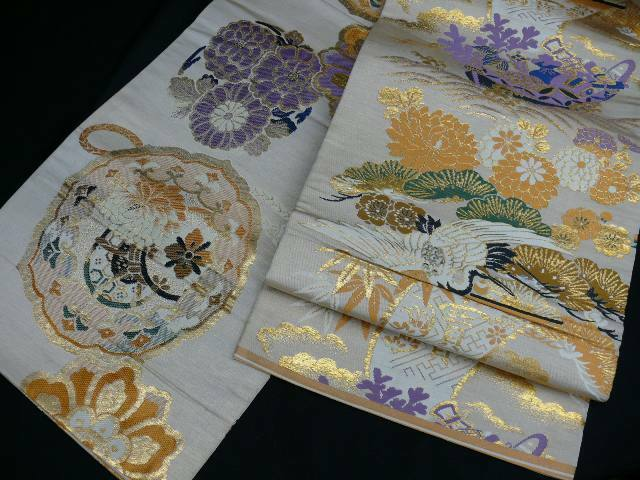REVERSIBLE Beige & Gold Silk Japanese MARU OBI w/Cranes, Treasure Boat H799