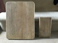 2 wooden chopping boards for kitchen or craft use