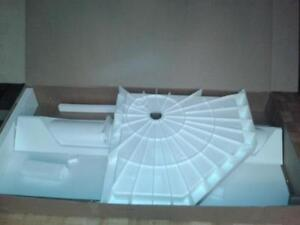 "SHOWER WALLS WITH SHELVES & RACK & 38"" NEO ANGLE BASE ONLY - BRA"