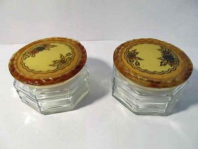 Lot (2) Vintage ART DECO Celluloid Lids Glass Powder Vanity Jar Trinket Dresser