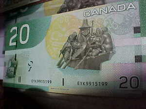 Five Choice UNC 2004 RADAR $20 With Same Prefix EYK Rare!! London Ontario image 3