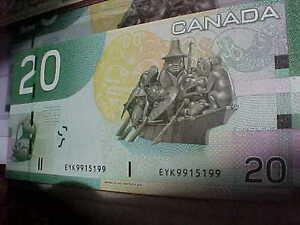 Five Choice UNC 2004 RADAR $20 With Same Prefix EYK Rare!! London Ontario image 3